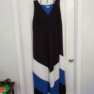Studio One NY blk/wht/blue maxi dress sz 2x